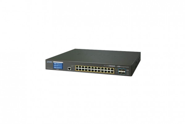 GS-5220-24UP4XVR Managed PoE Switch with LCD Touch Screen
